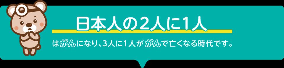 日本人の2人に1人はがんになり、3人に1人ががんで亡くなる時代です。